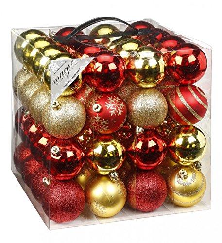 64x Kunststoff Christbaumkugeln Ø 6cm Kugel Box Glanz Glitzer Matt Dekor Inge, Farbe:Red-Gold-Mix