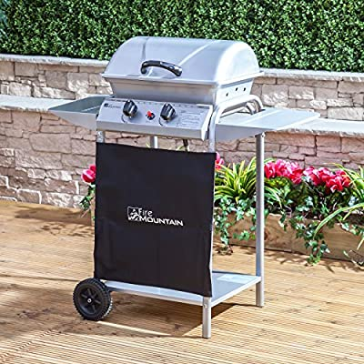 Fire Mountain Fuji 2 Burner Gas Barbecue - 92cm W x 97cm H, Piezo Ignition, Steel Hood, Enamelled Grill, Side Shelves, Wheels, Free Propane Regulator & Hose from Fire Mountain