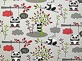 Panda Print Stretch Jersey Knit Kleid Stoff grau, Pro Meter