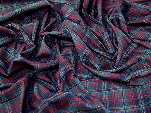 Tartan gebürstete Baumwolle Kleid Stoff Burleigh–Meterware