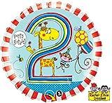Zahlenballon Ballon Folienballon Luftballon - Kinderballon 2 Jahre Alter - Happy Birthday Geburtstag Junge - geeignet zu