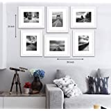 "Painting Mantra Decorative Premium Set of 6 Individual Wall Photo Frame (8"" X 10"" picture size matted to 6"" x 8"") - White"