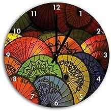 imagen Paraguas japonés el reloj de pared con negro señaló las manos y la cara, de 30 cm de diámetro, decoración perfecta para su hogar, idea regalo estupendo para jóvenes y mayores