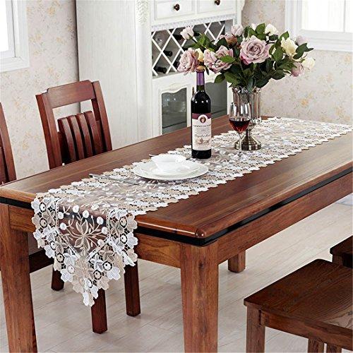 taixiuhome Gold Weiß Hollow Lace Floral bestickt transluzent Gaze Home Tischläufer Tisch Flaggen für Party Hochzeit Dekoration, Baumwollmischung, gold, 15.7 x 47.2 inches(40 x 120cm) -