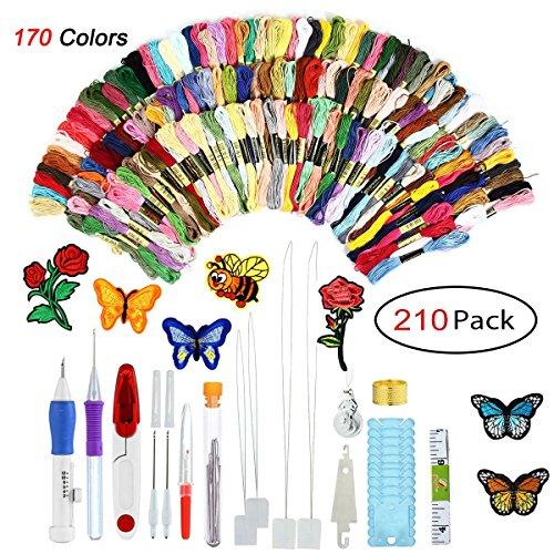 Aolvo Anfang Stickpackung, 210Pack Hand Stickerei Starter kit-170Rainbow Stickgarn Bunte und Extra 40Stück Werkzeug Zubehör für DIY Nähen Stricken Knit Crochet 210 Pack -