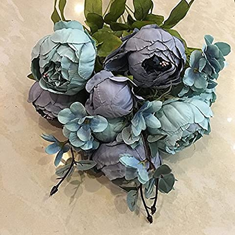 LinTimes Vintage Artificial Peony Silk Flowers Bouquet Decoration for Home Garden Wedding Blue