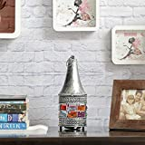 Aapno Rajasthan Conical Gun Metal Tea Light Holder With Rosy Silver Finish & Free Tealight For Diwali