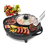 Smokeless Non-Stick Indoor 2 in 1 BBQ Grill & Hot Pot Multi-Function Electric Barbecue Oven for Party Family gathering
