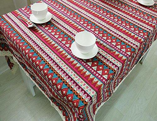 MeMoreCool Boho stile nazionale Tovaglia rettangolare blu pizzo multifunzione polvere dining-table panno cover retro in cotone panno di lino Art 61x 61cm, Cotone, Red, 39 inch by 55
