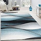 Paco Home Designer Teppich Modern Abstrakt Wellen Optik Konturenschnitt In Grau Türkis, Grösse:200x290 cm