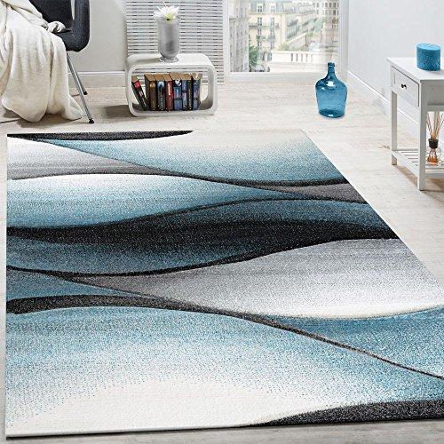 Paco home tappeto di design moderno astratto effetto onde taglio sagomato grigio turchese, dimensione:120x170 cm