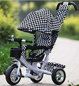 ROYAL KIDDY LONDON NOURRISSONS ENFANTS DES ENFANTS UNISEX TRIKE TRICYCLE 3 ROUE 4 EN 1 BIKE RIDE PARENT POIGNÉE (Polka Dot)