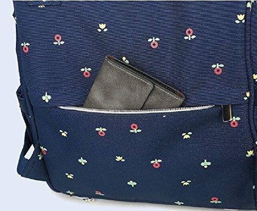 Mama-Tasche, Umhängetasche, Multifunktions-Großraum-Muttertasche, Mutter-Baby-Tasche, Licht-Out-Paket, Mode-Rucksack ( Farbe : Blue flowers ) Blue flowers
