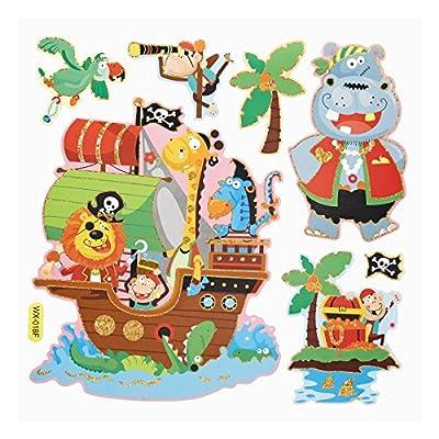 2D Sticker Piraten / Tiere * Wandtattoo XXL * Deko für Schultüte , Wand , Tür von Hobbyfun bei TapetenShop