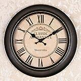 OLILEIOContinental Retro moderne, minimalistische kreative Persönlichkeit Mute Armbanduhr Quarzuhr amerikanische Schlafzimmer Wohnzimmer Uhr Second Hand (14 Zoll, 16-Zoll) 14-Zoll, 18 Kurzwahleinträge