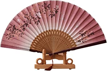 Women Butterfly and Flower Style Folding Bamboo Hand Fan with Tassel (Wine Red+Brown)