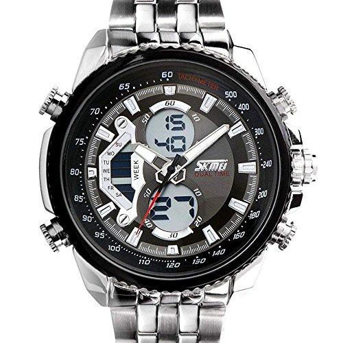SunJas Herrenuhr Uhr Armbanduhr Quarzuhren Watch Sportuhr Edelstahl Wasserdicht Uhr (Schwarz)