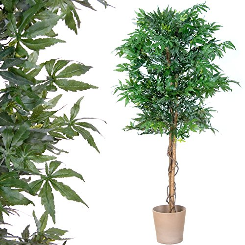 Marihuana Kunstpflanze mit Echtholzstamm Cannabis Pflanze Kunstbaum – 150 cm groß - 2