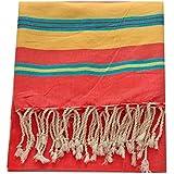 Vent du Sud-Toalla de playa, diseño de manta Hammam-Toalla pareo de baño de algodón liso, color naranja, extremités de bandas, color amarillo, verde y marrón