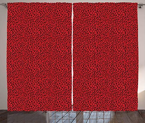 ABAKUHAUS Rot und Schwarz Rustikaler Gardine, Abstraktes Gitter, Schlafzimmer Kräuselband Vorhang mit Schlaufen und Haken, 280 x 245 cm, Schwarz Rot (Rot Gitter, Vorhänge)
