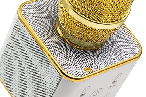 MusicMan 4685 Karaoke Mikrofon BT-X31 (Bluetooth, kompatibel mit Smartphone/Apple iPhone gold/weiß - 6