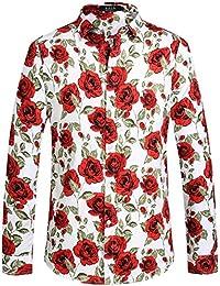 SSLR Camisa Casual para Hombre de Manga Larga de Algodón Estampada de Rosas