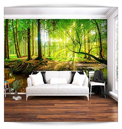 Preisvergleich Produktbild Fototapete Wald 3D 250x175 cm XL | modern | Schlafzimmer | Tapete | Wandbilder | Phototapete | Premium Vliestapete | Wandtapete | FOB0236a5XL