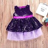 Morbuy Bowknot Encaje Princesa Falda Summer Sequins Vestidos para Bebés Fiesta de Encaje Princesa Vestidos (70, Púrpura)