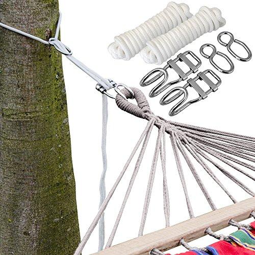 Ensemble pour Accrocher votre Hamac aux Arbres | Corde de 6 m | Poids maximum supporté 160 Kg | Kit Complet