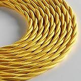 Klartext - Cavo tessile trecciato LUMIÈRE per illuminazione, 3x0,75mm, Giallo, 3mt.|Attenzione: cavo terra incluso! Massima sicurezza anti scossa!