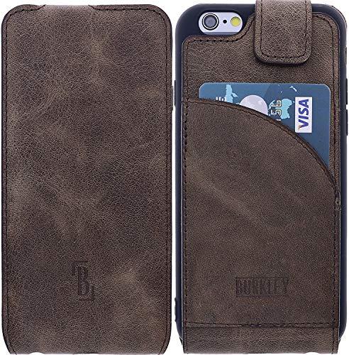 Burkley Lederhülle geeignet für Apple iPhone 6 / 6S Hülle Handyhülle - Schutzhülle Flip Cover Case für das iPhone 6 / 6S mit Kartenfach (Antik Braun) - Leder Iphone Case 6 Vertikal