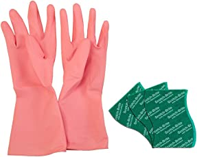 Scotch-Brite Kitchen Gloves Small Pair (Pack of 1) and Scrub Pad Large (Pack of 3)