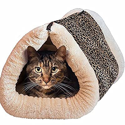 cat matS,Cat tunnel?2 in 1 Tube Cat Mat and Bed Large Pet Bed with Self-heating Thermal Core Furniture&Carpets Fur-free Warm House for Cat / Puppy, Plush Pet Accessories