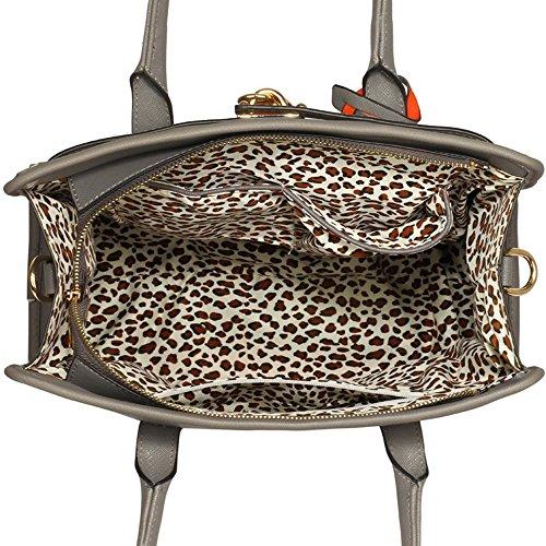 LeahWard® Damen Umhängetasche Handtaschen Große Schultertasche Für Sie Grau/Weiß