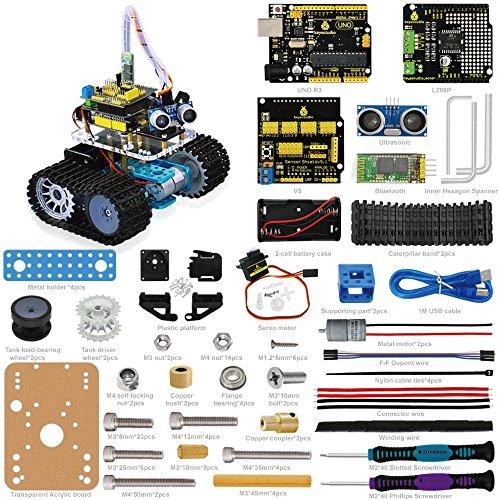 Keyestudio - Coche inteligente Bluetooth ultrasónico con mando a distancia, tanque para montar, coche inteligente robótico para Arduino Starter