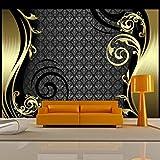 murando - Fototapete 300x210 cm - Vlies Tapete - Moderne Wanddeko - Design Tapete - Wandtapete - Wand Dekoration - Abstrakt Ornament schwarz gold violett braun a-A-0032-a-b