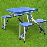 Generic Garden Setable Wit avec chaises Neuf Pliable Portable pour Barbecue Camping Table de Pique-Nique de Jardin de Nouvelles Pliable Portable Pic