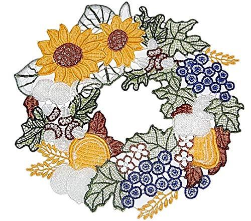 Plauener Spitze Fensterbild 20x22 cm + Saugnapf Sonnenblume Herbstkranz Spitzenbild Herbst Deko