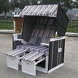 Jalano Zweisitzer Strandkorb mit klappbarer Rückenlehne für 2 Personen 118 x 80 x 160 cm (schwarz)