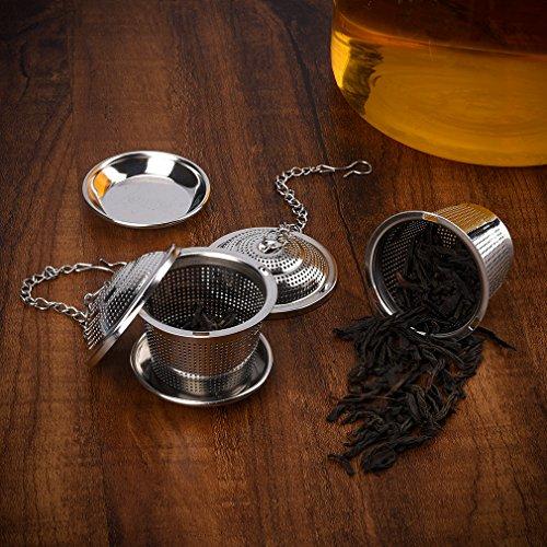 Tee-ei Sieb Edelstahl Sieb für losen Blatt-Tee Ollimy Teefilter Kaffee und Auffangwannen (2 Stück) geeignet für jeden losen Tee und alle Tee-Blätter - 7