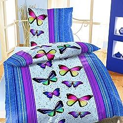 Mikrofaser Bettwäsche 135x200 2 teilig Tiere Schmetterling Frühling Sommer blau