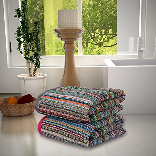 Magna 300 gsm Cotton Set of 2 Large Bath Towels -MULTICOLOURED
