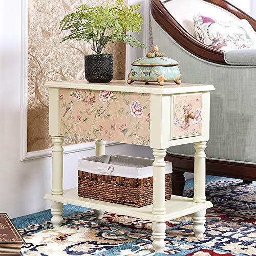 DEO Table d'appoint avec tiroir Table de chevet pour chambre à coucher Table d'appoint Table basse avec tiroir Table de rangement Armoire de chevet (Couleur : Ivory white, taille : Large)