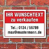 Schild Zu verkaufen Wunschtext Vermieten Haus Angebot wetterfest 3mm Alu-Verbund 450 x 300 mm