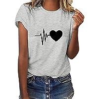 Yuson Girl Donna Maniche Corte T-Shirt Stampa a Cuore Estivi Maglietta Manica Corta Donna Casual Cotone Stretch…