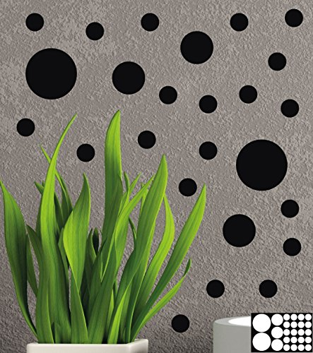 Kleb-drauf® - 25 Punkte/Schwarz - matt - Aufkleber zur Dekoration von Wänden, Glas, Fliesen und allen anderen glatten Oberflächen im Innenbereich; aus 19 Farben wählbar; in matt oder glänzend (Schwarz-wand-aufkleber)