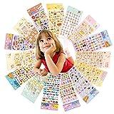 Yuccer Aufkleber für Kinder, 3D Sticker Tiere 15 Blätter Verschiedene Muster Scrapbook Aufkleber Einschließlich Herz, Tier, Alphabet und Tonnen Mehr …