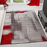 Vimoda orion7429Tappeto Modern Designer, Astratto, Screziato, di Facile Manutenzione, Rosso/Grigio, Bunt, 80 x 150 cm