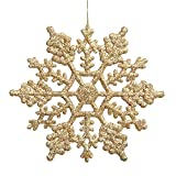 DoTech 12 Pcs Glitter Fiocco di Neve Plastica Fiocchi di Neve Decorazioni per Albero Di Natale Finestra Natalizie Decorazione Ornamenti (Oro)