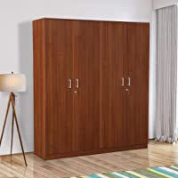 HomeTown Premier Engineered Wood Four Door Wardrobe in Regato Walnut Colour